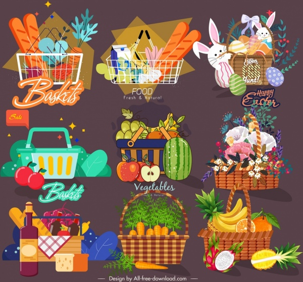 container basket templates shopping easter food camping themes