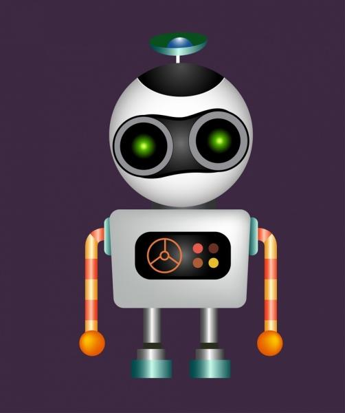 contemporary robot icon shiny multicolored design