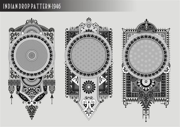 label templates retro ethnic ornament black white design free vector