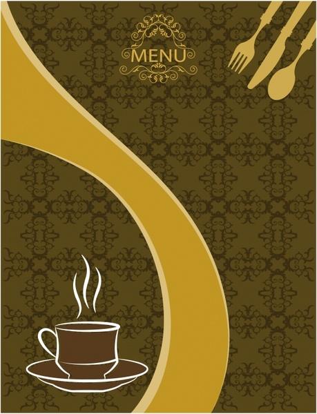 menu cover template dishnware icons sketch classical decor