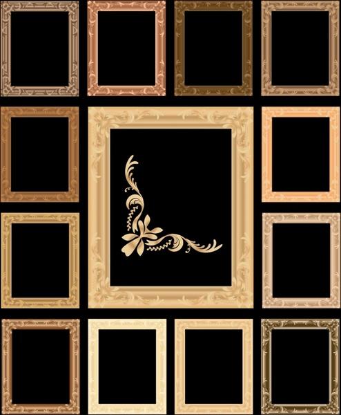 decorative frames templates dark retro design