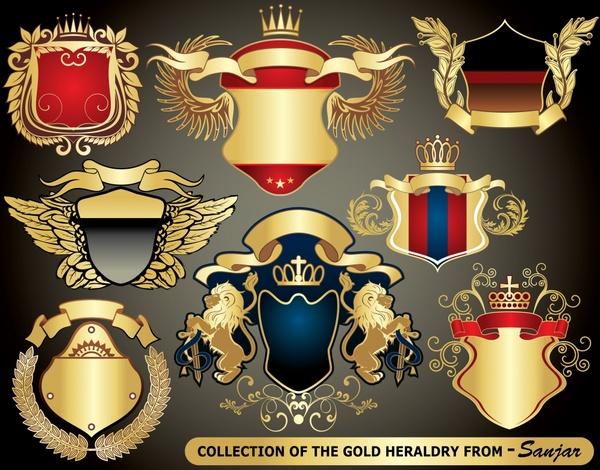 royal label templates elegant wings crown shield ribbon