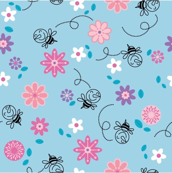 continuous background lovely vector flowers bees