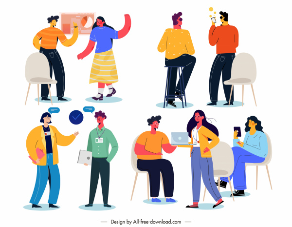 conversation icons colorful cartoon characters sketch