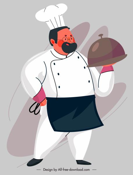 cook icon man serving food sketch cartoon design