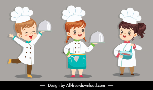 cook icons cute kids sketch cartoon characters