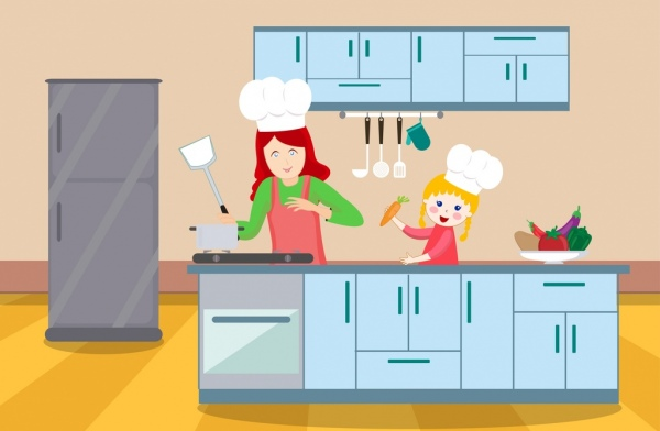 cooking background mother daughter kitchen icons cartoon design