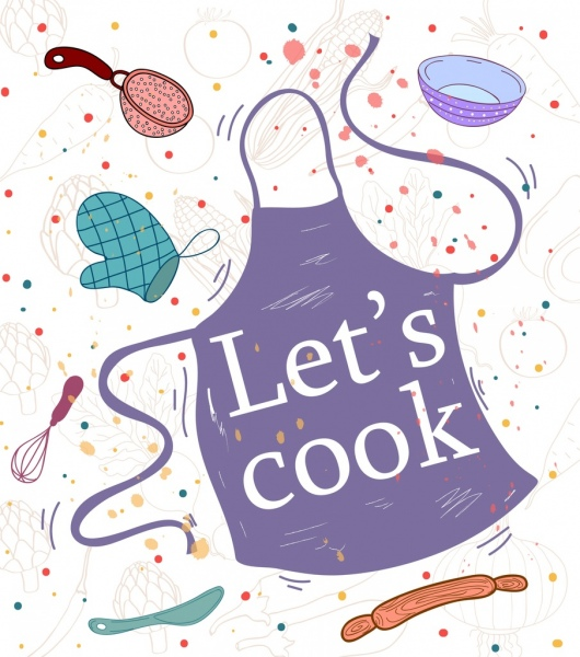 cooking banner apron kitchenware icons decor