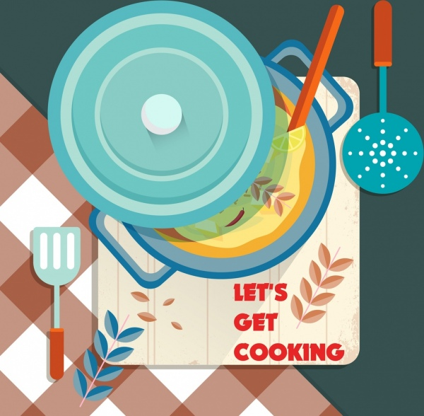 cooking banner kitchenware icons colored classical design