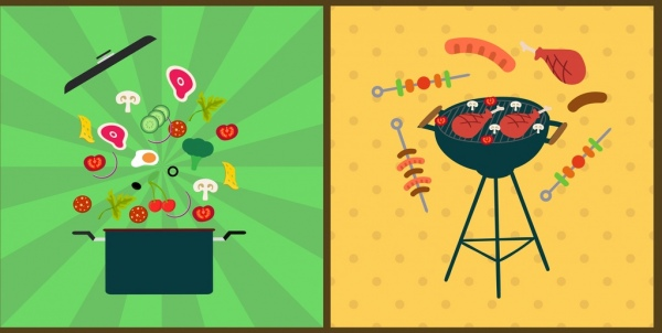 cooking design elements food pot barbecue icons