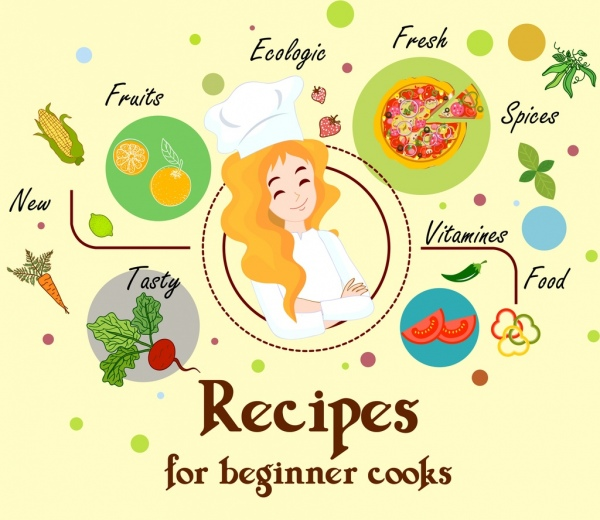 Cooking recipes banner female cook food icons decor Free