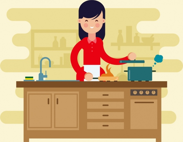 cooking work background housewife icon cartoon design