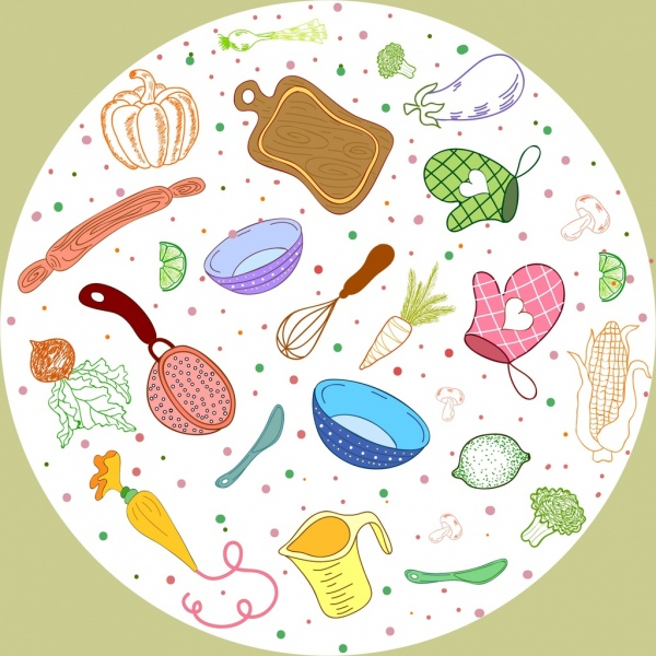 cooking work background utensils vegetables icons circle layout