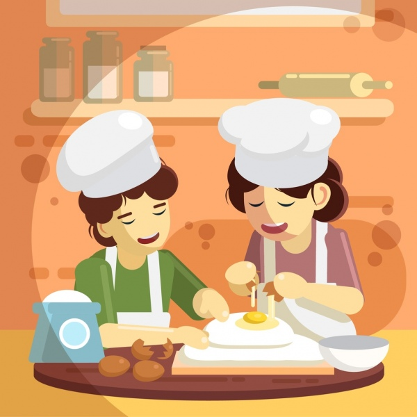 cooking work background women pastry icons colored cartoon
