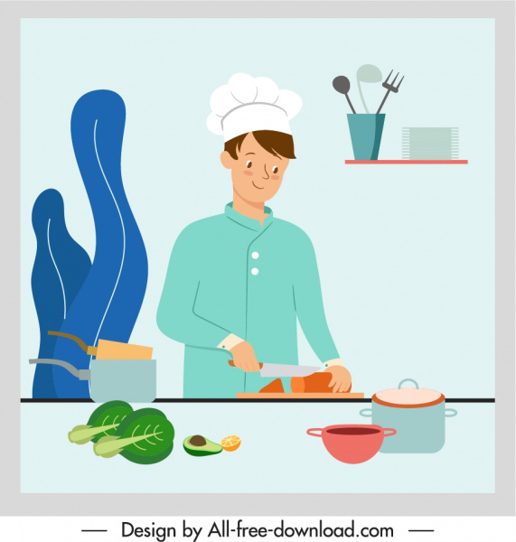 cooking work painting colored cartoon character sketch