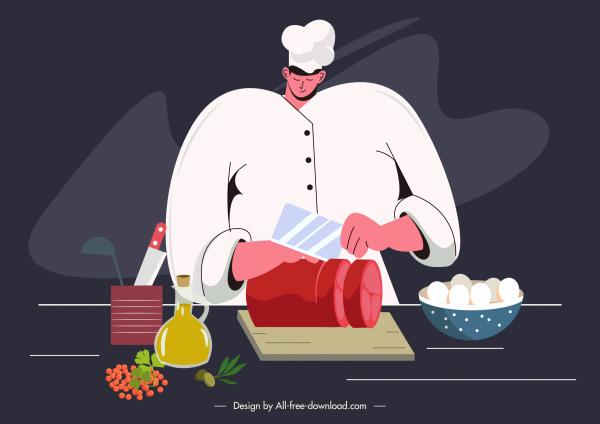 cooking work painting man preparing food sketch