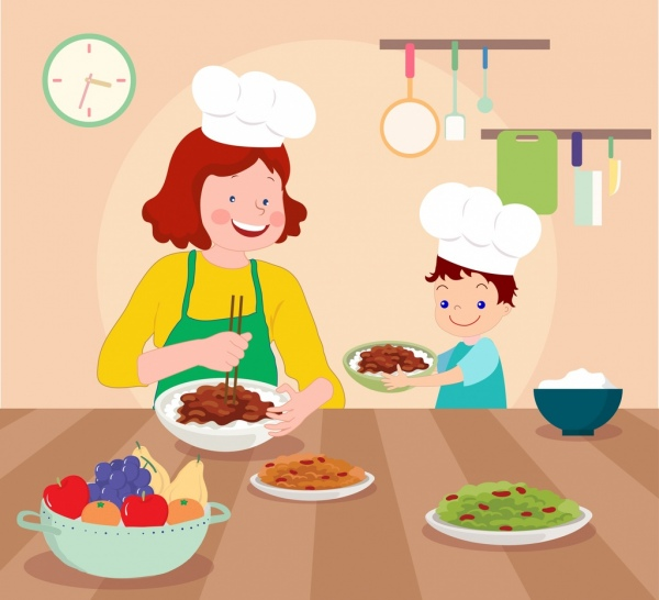 cooking work painting mother son food kitchen icons