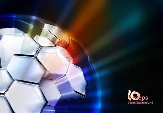 football background shiny sparkling lights 3d polygonal ball