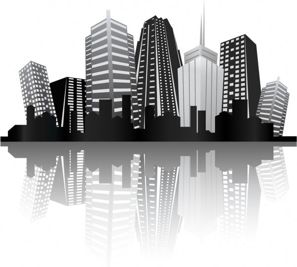 urban background skyscrapers icon black white reflection design