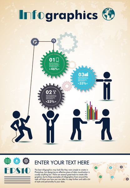 coporate infographic design with gears and human illustration
