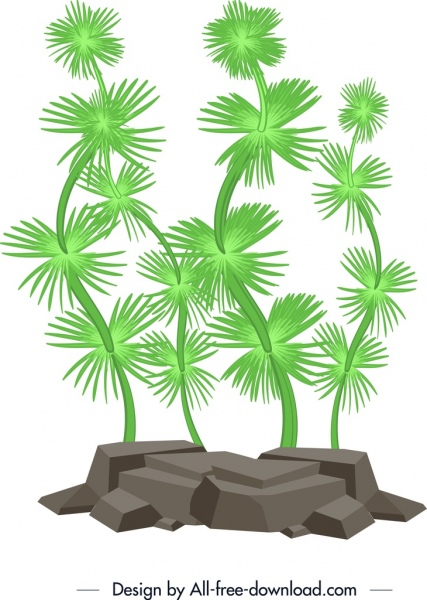 coral painting green trees icon decor