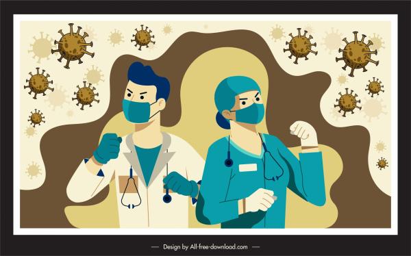 corona virus banner fighting doctors bacteria sketch