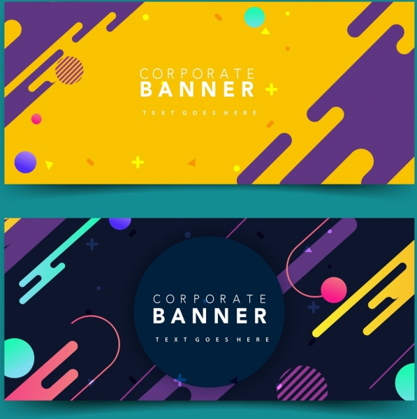 corporate banner sets colorful abstract geometric decor
