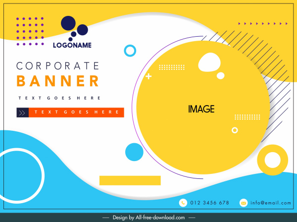 corporate banner template bright colorful flat circles decor