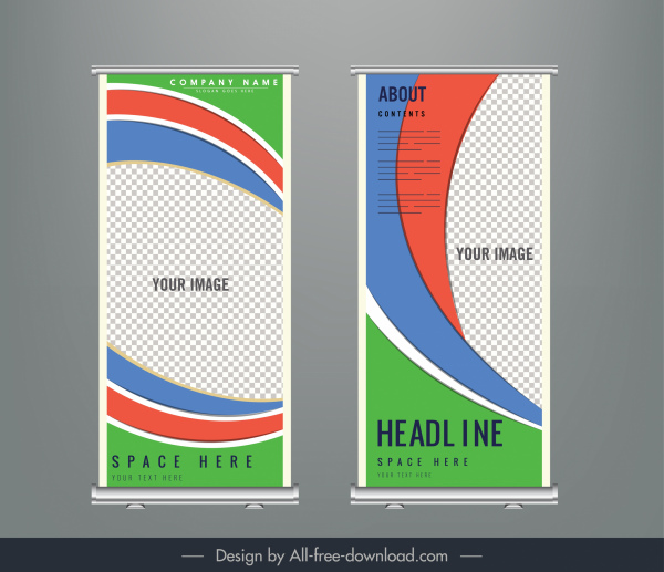 corporate banner template colorful abstract checkered curves decor