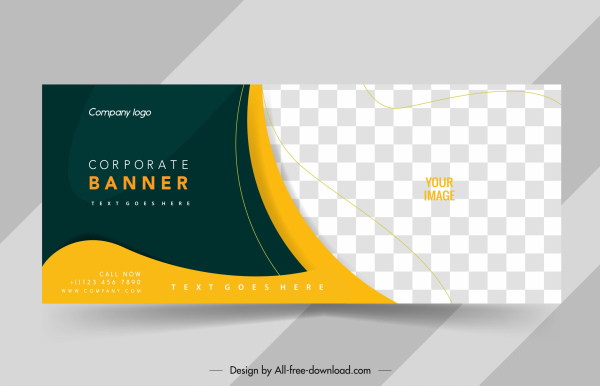 corporate banner template elegant checkered curves decor