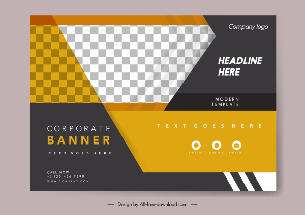corporate banner template elegant checkered decor