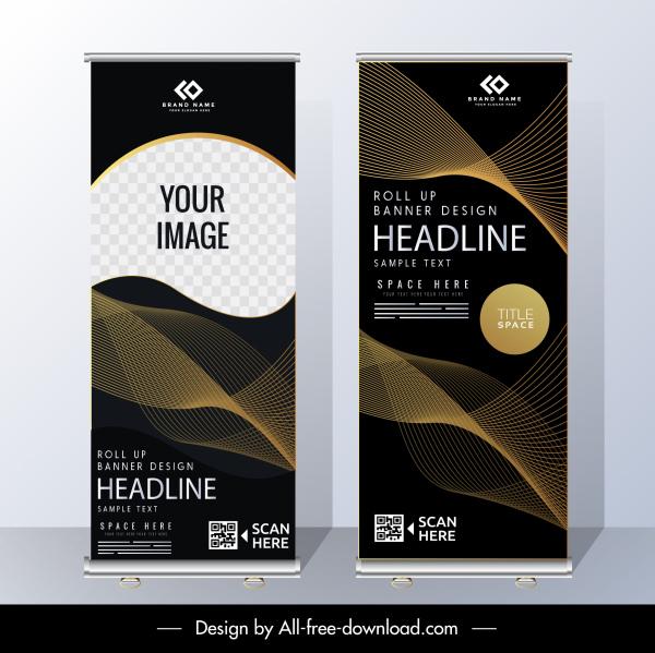 corporate banner template elegant dark modern vertical design