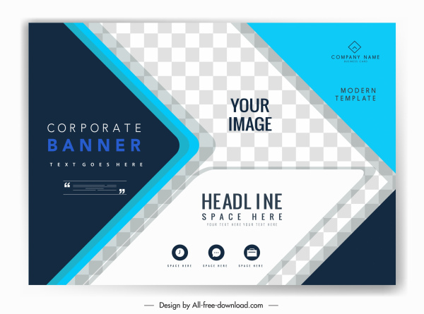 corporate banner template modern checkered arrow shapes