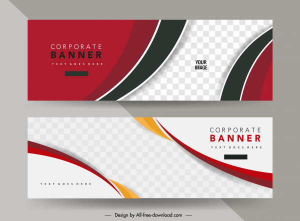 corporate banner template modern checkered curves decor