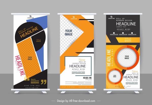 corporate banner template modern elegant colorful vertical shape