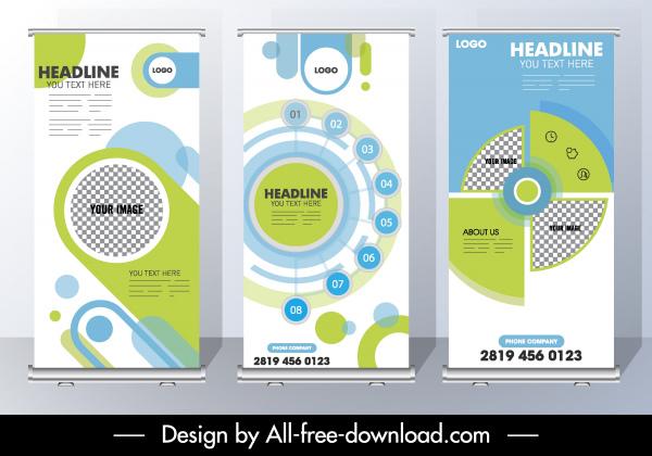 corporate banner template modern geometric decor standee shape