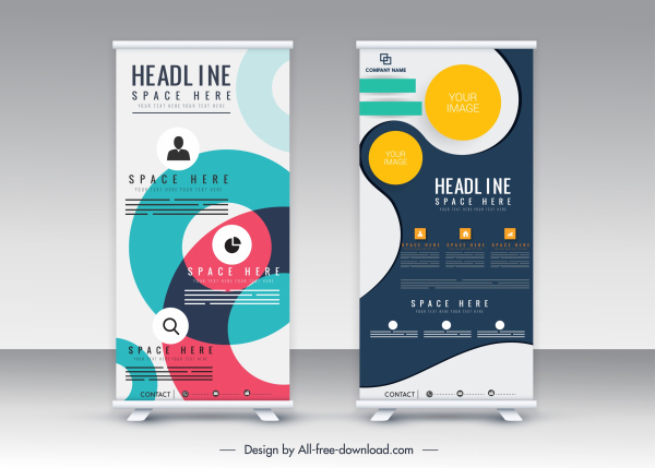 corporate banner template scroll standee shape modern abstract