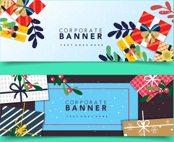 corporate banner templates colorful gift box icons decor