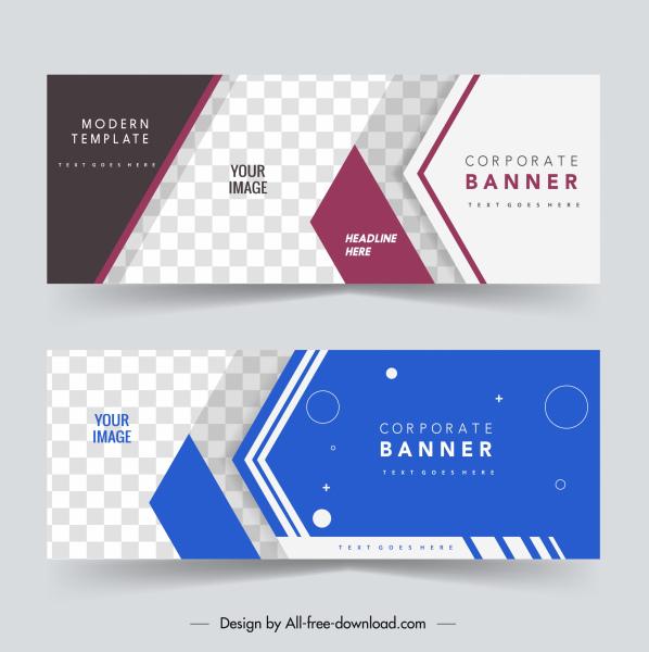 corporate banner templates elegant modern checkered horizontal decor