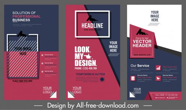 corporate banner templates elegant modern dark colored flat decor