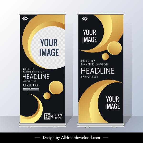 corporate banner templates elegant modern yellow black decor