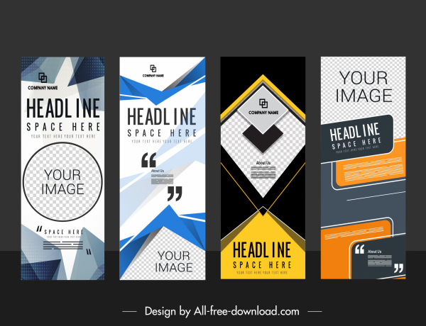 corporate banner templates modern abstract technology colorful vertical