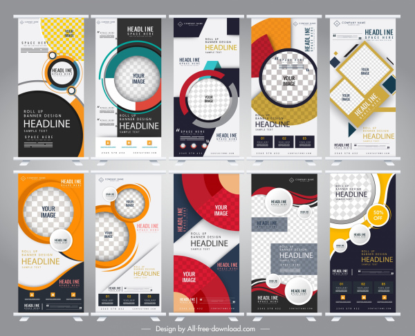 corporate banner templates modern colorful vertical design