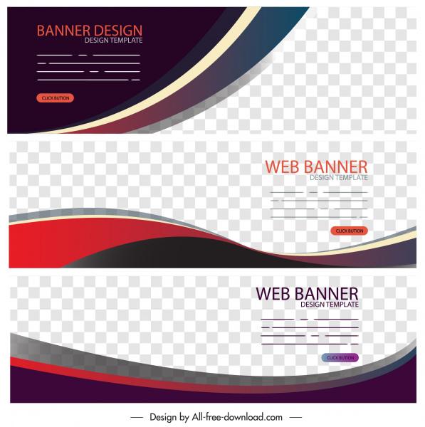 corporate banner templates modern flat curves decor