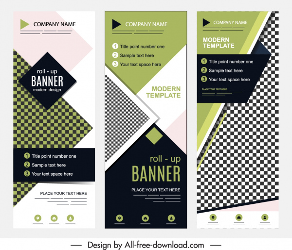 corporate banner templates roll up shape checkered decor
