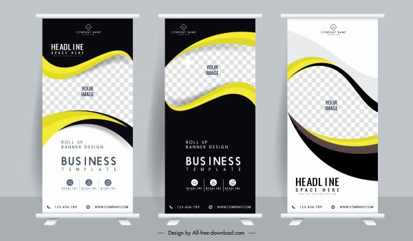 corporate banner templates roll up shape modern vertical