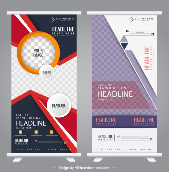corporate banners rolled up shaped colorful modern decor