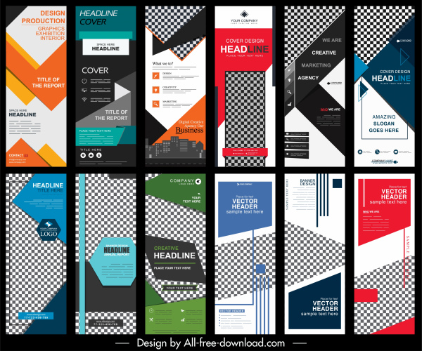 corporate banners templates colorful modern abstract vertical design