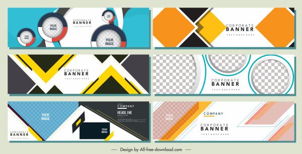 corporate banners templates modern flat colorful geometric decor