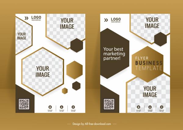 corporate brochure cover templates elegant modern checkered geometry decor